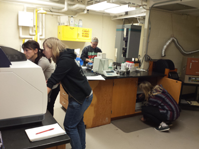 Geology majors working in the geochemistry lab
