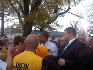 President Obama talking with the crowd after the speech