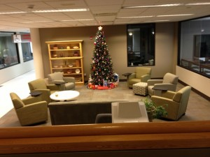 The tree on the first floor of the library has some interesting presents underneath of it!