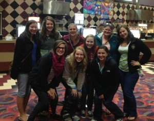 A group of friends and I went to see a movie for Caitlin's birthday. (:
