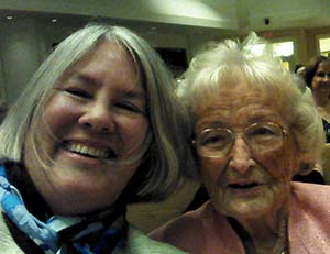 Jane Bahls poses with 90-year-old Doris Pells in Naples, Fla. Doris' sons and late husband are Augustana alumni.