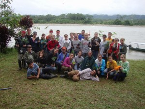 half the group in the rain forest