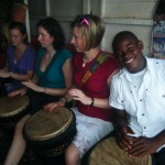 A few of us taking drum lessons in the Art Center with one of our teachers, David.