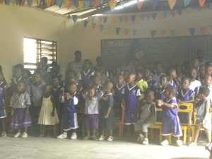 The kids welcoming us to their school