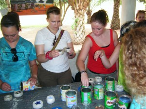 our group making beads from recycled glass