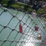 Couples have placed padlocks on this bridge to symbolize their love.