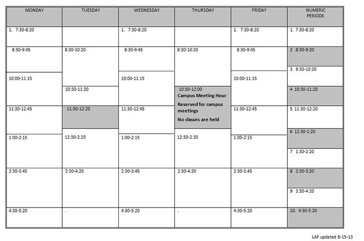 Daily Class Meeting Schedule – Meeting Schedule